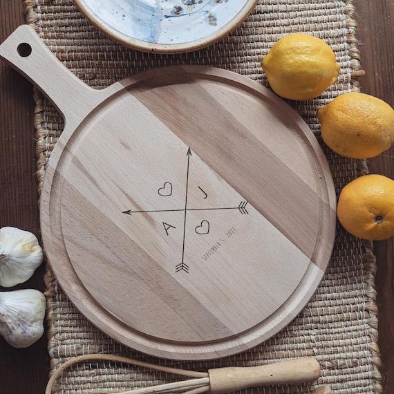 "Personalized Cutting Board, Custom Cutting Board, Custom Engraved Paddle Cutting Board, Acacia ""Crossing Arrows"" Personalized Wedding Gift"