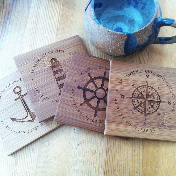 Custom Engraved Nautical Coaster Set, Personalized Coasters, Anchor, Coordinates, Assorted Gift Set w/ Names, Established Date, Wedding Gift
