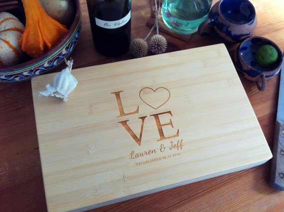 Personalized Cutting Board, Chopping Block, Love Cutting Board, Wedding Gift, Heart Cutting Board, Housewarming Gift, Newlyweds Gift