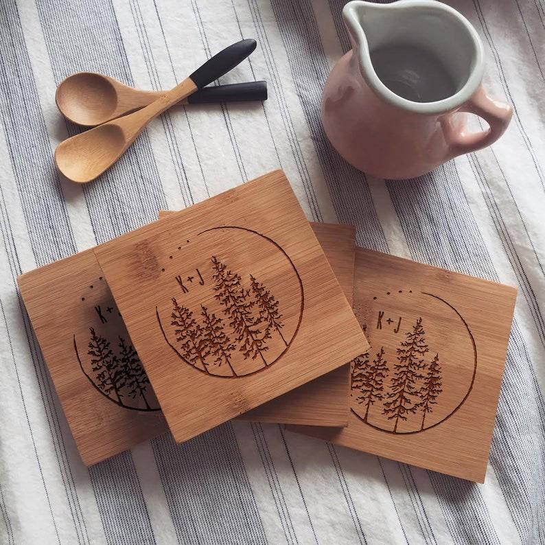 Custom Engraved Coaster Set Personalized Bamboo Coasters image 0