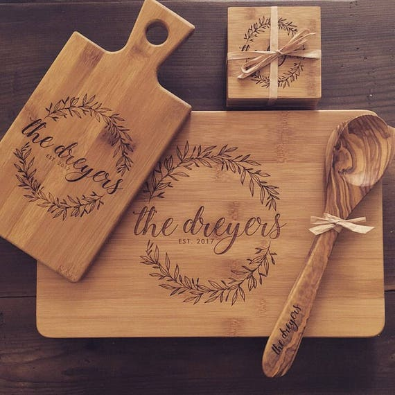 Engraved Cutting Board Set Personalized Wedding Gift Idea Etsy