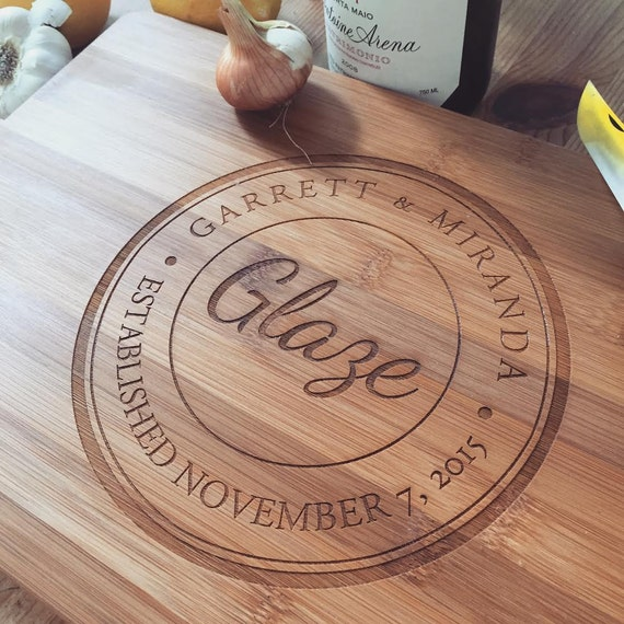 Custom Cutting Board, Wood Chopping Block, Unique Wedding Gift, Rustic Cheese Board, 5th Anniversary Gift, Newlyweds Gift