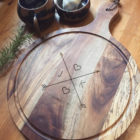 "Personalized Cutting Board, Custom Cutting Board, Custom Engraved Paddle Cutting Board, Acacia ""Crossing Arrows"" Personalized Wedding Gift"