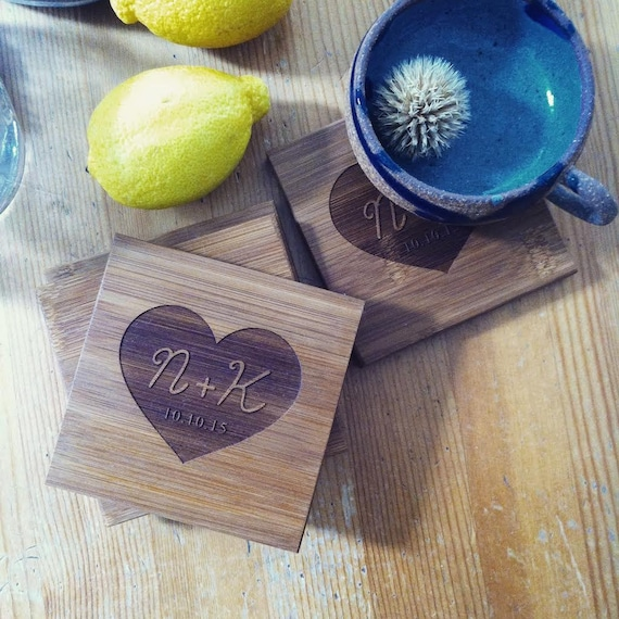 Custom Coasters, Personalized Coaster Set, Engraved Coasters with Heart and Your Initials