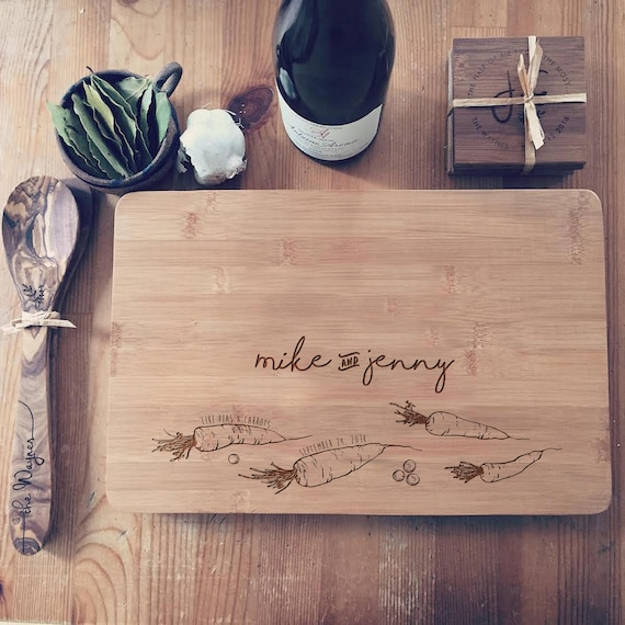 Peas & Carrots Custom Cutting Board, Personalized Gift for Couples, Engraved  Butcher Block or Cheese Board
