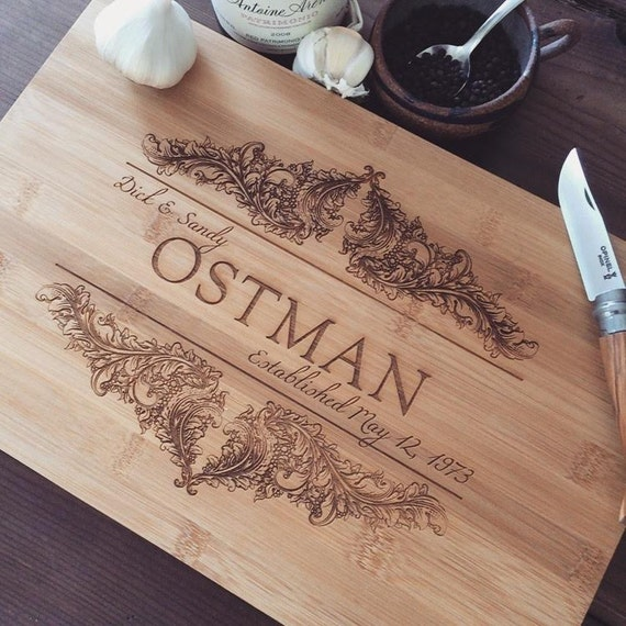 Custom Cutting Board / Personalized Butcher Block, Laser Engraved Wood Cutting Board for Wedding Gift or Engagement Gift