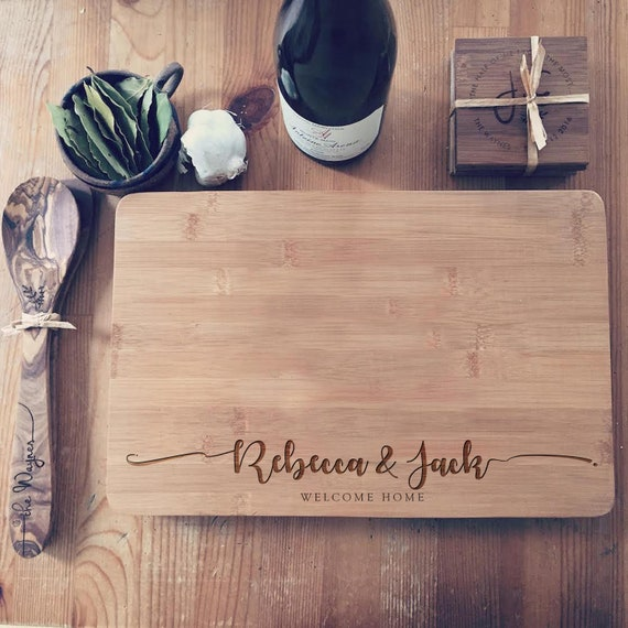 Custom Engraved Chopping Board, Butcher Block, Personalized Cutting Board for Unique Wedding Gift, Housewarming Gift, or Newlyweds Gift