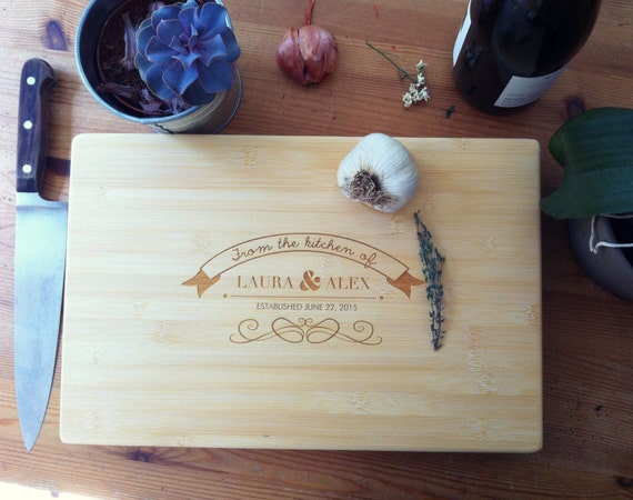 "Customized Bamboo Chopping Block ""From the Kitchen"" Personalized Cutting Board, Unique Wedding Gift, Engagement Present, Anniversary Gift"