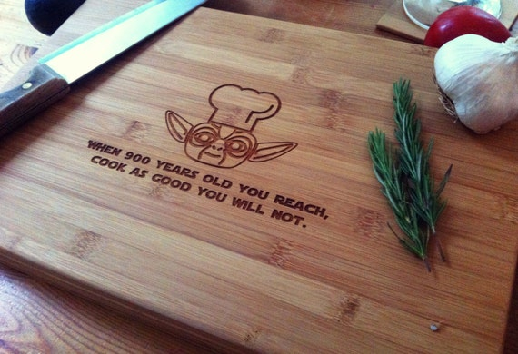 Chef Yoda Personalized Cutting Board / Star Wars Chopping Block Custom Cutting Board, Birthday Gift, Housewarming, Engagement Gift
