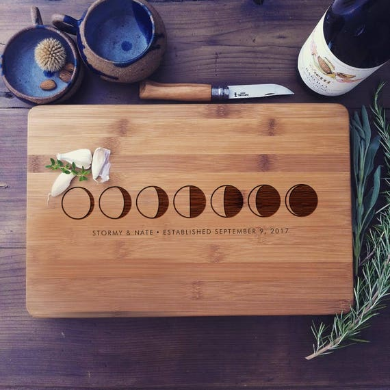 Personalized Moon Phase Cutting Board, Custom Butcher Block - Housewarming Gift, Wedding Gift, or Engagement Present