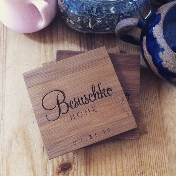 Engraved Coasters, Personalized Bamboo Coasters Set for Housewarming Gift, Hostess Gift, or Engagement Present
