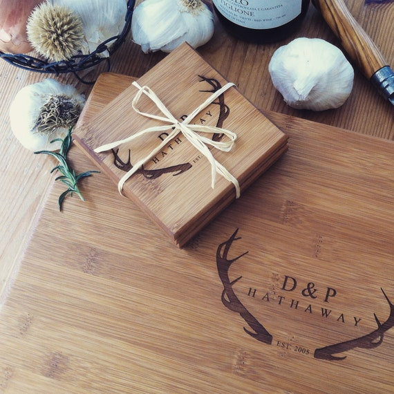 Cutting Board Set: Wood Chopping Board / Custom Butcher Block and Matching Engraved Coasters for a Personalized Wedding Gift or Housewarming