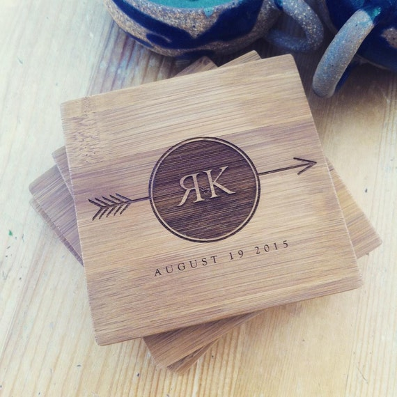 Custom Engraved Coaster Set, Personalized Monogrammed Coaster for a Wedding Gift, Engagement Present, or Housewarming Gift