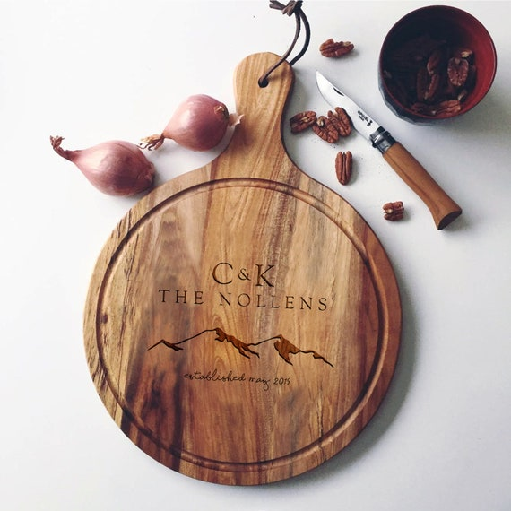 Personalized Acacia Cutting Board / Custom Cheese Board or Bread Board with Mountain Design - For a Unique Wedding Gift or Housewarming Gift