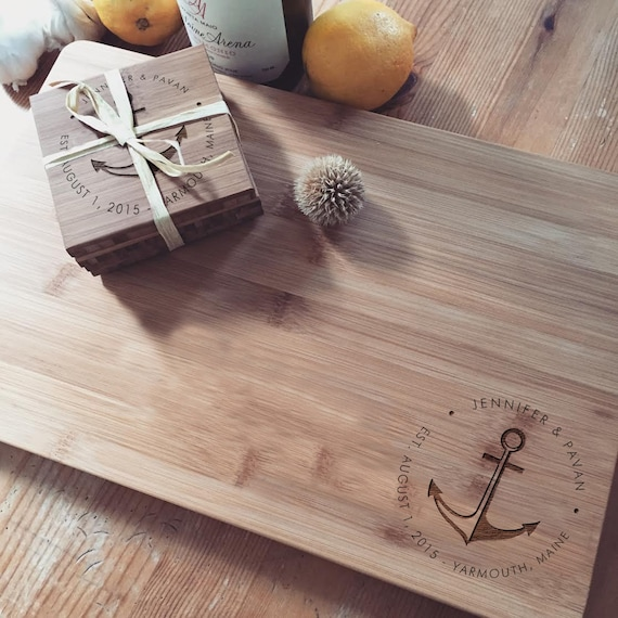 Personalized Gift Set: Custom Cutting Board and Engraved Coaster Set, Butcher Block Chopping Board Cheese Board Wedding Gift Anchor Nautical