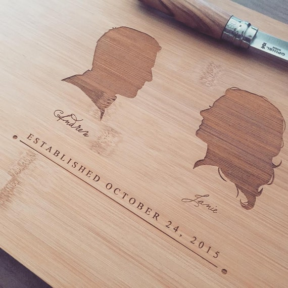 Your Portraits Cutting Board Bamboo Chopping Block Personalized Cutting Board, Unique Wedding Gift, Engagement Present, Custom Silhouettes