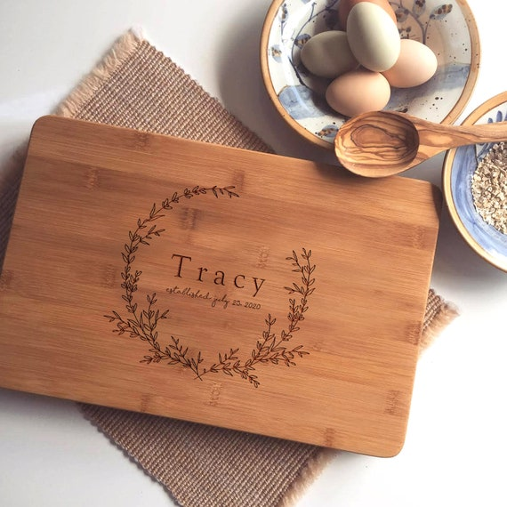 Custom Cutting Board Set - Personalized Chipping Block, Engraved Coasters, Custom Wood Spoons with Floral Wreath and Name or Initials