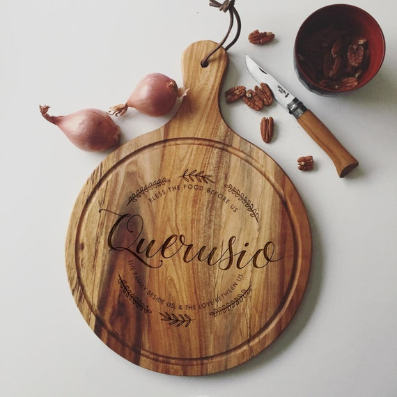 Personalized Acacia Cutting Board, Custom Cheese Board or Charcuterie Board for a Unique Wedding Gift, Engagement Present, or Closing Gift
