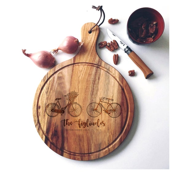 Personalized Charcuterie Board, Acacia Wood Serving Board, Custom Cutting Board, Wedding Cheese Board w/ Bicycles