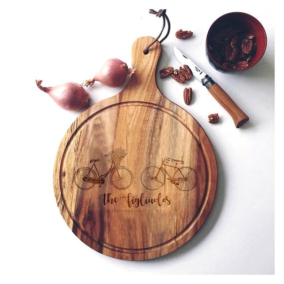 Personalized Charcuterie Board, Acacia Wood Serving Board, Custom Cutting Board, Wedding Cheese Board w/ Bicycles