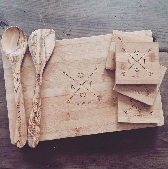 Custom Chopping Block, Engraved Coasters, and Wooden Spoon & Spatula Gift Set - Custom Wedding Gift, Engagement Gift, or Anniversary Gift