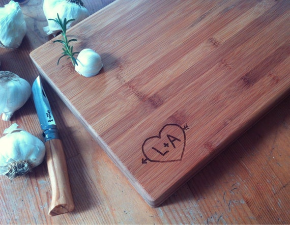 Heart With Initials Personalized Cutting Board Engraved Bamboo Chopping Block Personalized Wedding, Couple, Engagement, Anniversary Gift