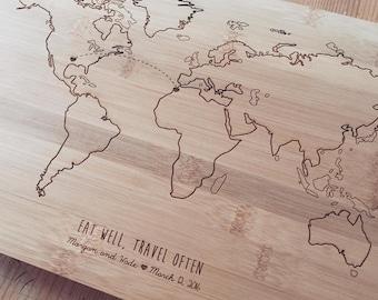 World Map Cutting Board, Travel Map, Chopping Block, Butcher Block, Wood Chopping Board, Bridal Shower Gift, Personalized Wedding Gift