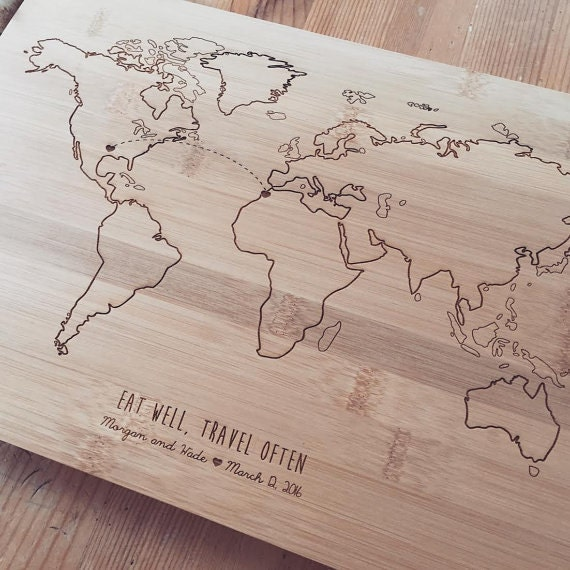 World Map Cutting Board, Travel Map, Chopping Block, Butcher Block, Wood Chopping Board, Bridal Shower Gift, Personalized Wedding Gift
