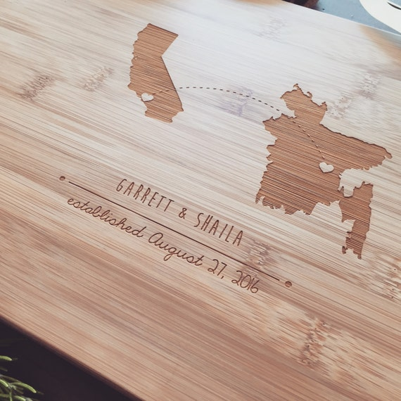 Personalized Cutting Board, Customized State / Country / Province, Wood Chopping Board, Wedding Gift, Housewarming Gift