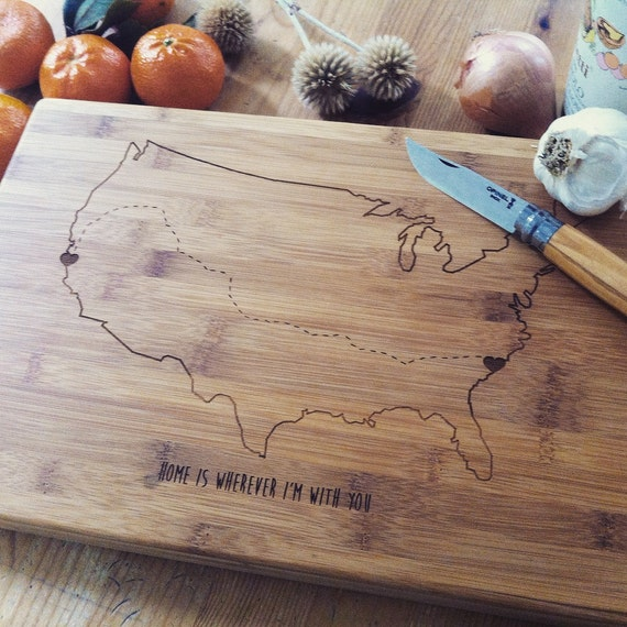 Personalized USA Map Cutting Board, Custom Butcher Block, Wood Chopping Board for Travel History, Wedding Gift or Engagement Present