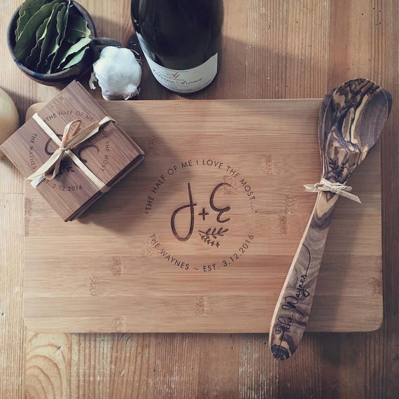 Gift Set: Personalized Cutting Board, Custom Coasters, Engraved Wood Spoon & Spatula -  Custom Chopping Block, Cheese Board, Wedding Gift