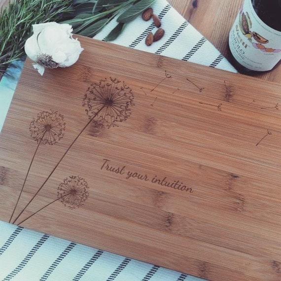 Custom Engraved Cutting Board, Bamboo Chopping Block, Dandelions Design for Wedding Gift, Bridal Shower Gift, Newlyweds Gift Idea