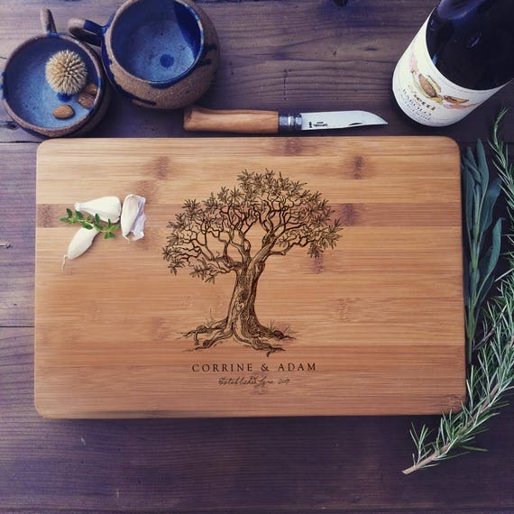 Custom Cutting Board, Tree Cutting Board, Personalized Bamboo Butcher Block