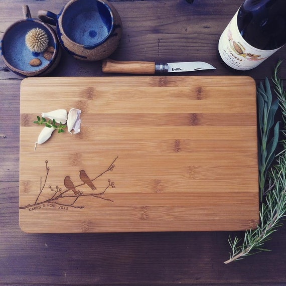 Love Birds Cutting Board / Laser Engraved Butcher Block, Cheese Board or Charcuterie Board for Wedding Gift, Engagement Gift or Anniversary
