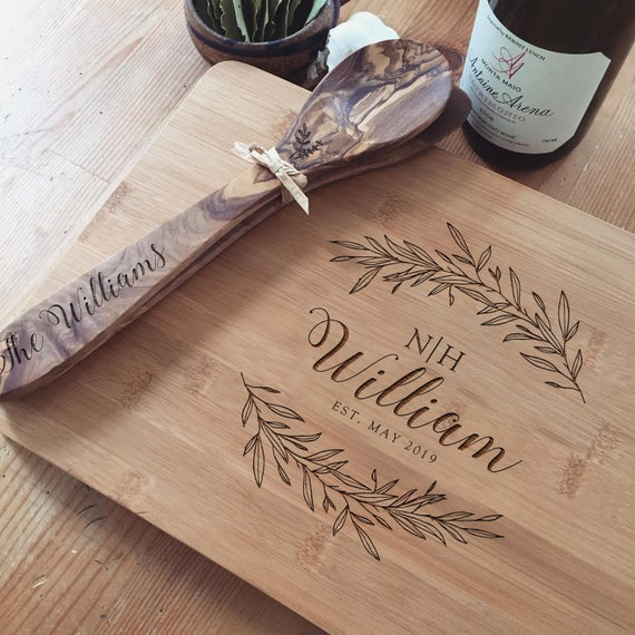 Personalized Bamboo Cutting Board, Custom Butcher Block for a Unique Housewarming Gift or Engagement Gift