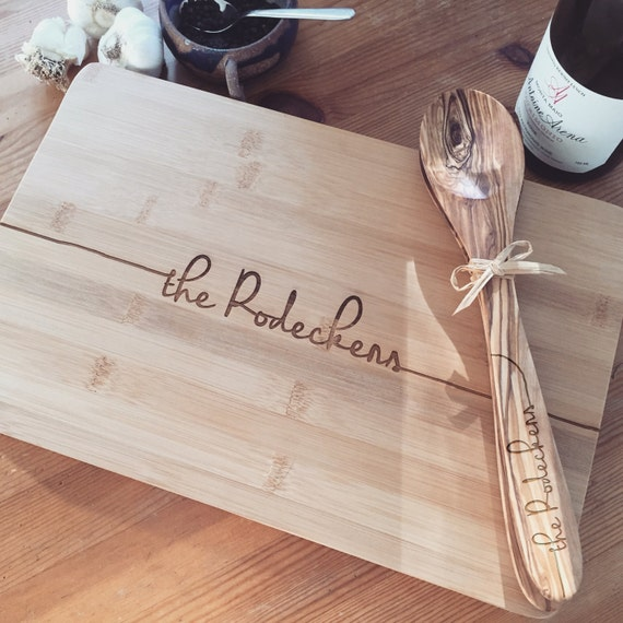 Custom Cutting Board and Matching Wooden Spoon and Spatula Set - Wedding Gift Idea, Housewarming Gift, or Congratulations Gift