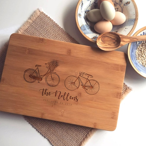Personalized Charcuterie Board, Custom Cutting Board, Engraved Butcher Block with Bicycles / Wedding Gift or Engagement Gift