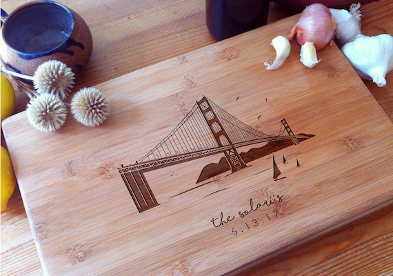Personalized Chopping Block, San Francisco, Golden Gate Bridge, Chopping Board, Butcher Block, Housewarming Gift, Wedding Gift, Home Decor