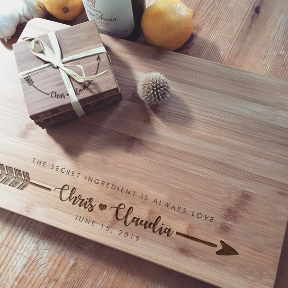 Engraved Chopping Block w/ Personalized Text, Custom Cutting Board with Matching Coaster Set, Wood Spoon and Spatula Set