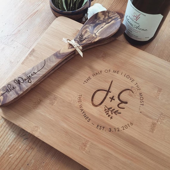 Cutting Board Set: Custom Butcher Block and Matching Wood Coasters, Personalized Spoon and Spatula Set