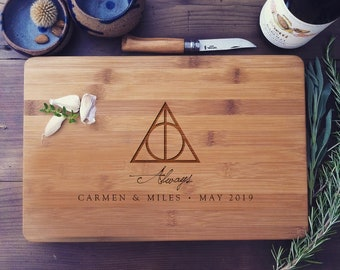 """Custom Cutting Board """"Always"""" Personalized Butcher's Block or Cheese Board - Harry Potter Wedding Gift or Anniversary Gift"""