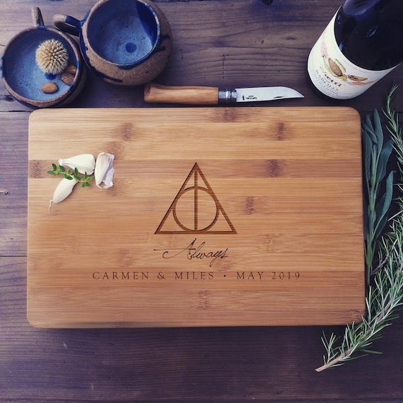 "Custom Cutting Board ""Always"" Personalized Butcher's Block or Cheese Board - Harry Potter Wedding Gift or Anniversary Gift"