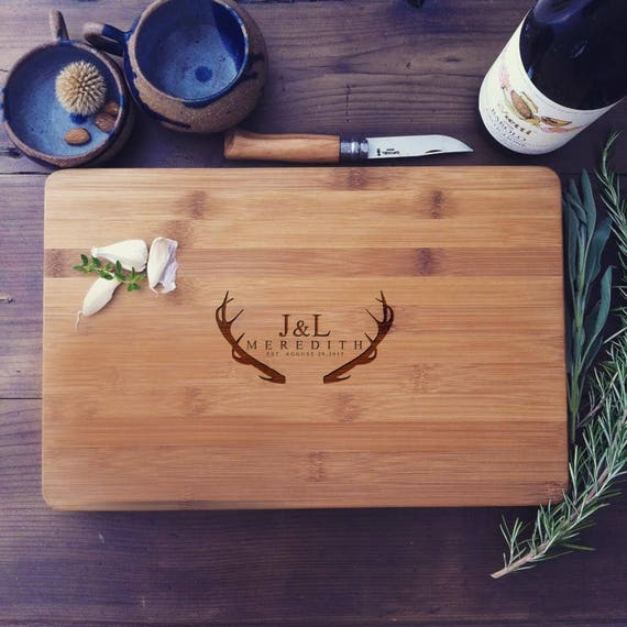 Engraved Chopping Block, Personalized Bamboo Cutting Board, Deer Antlers Design for Wedding Gift, Hostess Gift, or Housewarming Present