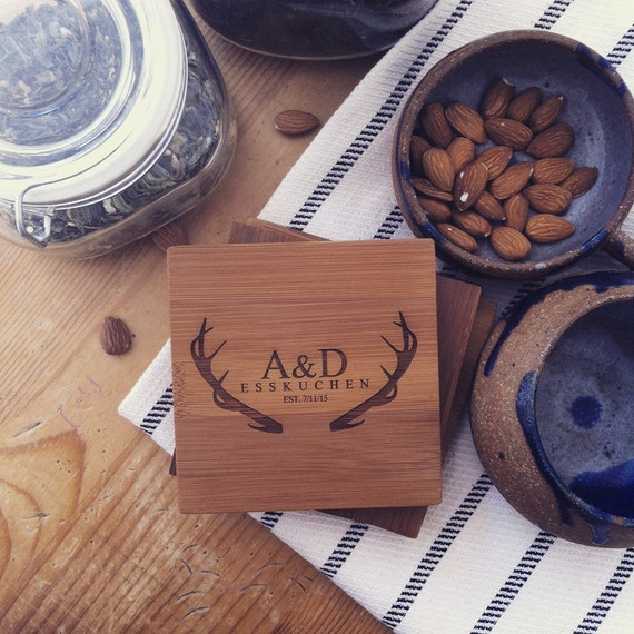 "Personalized Coasters, Custom Engraved Coaster Set, Bamboo Coasters, ""Antlers"" Engraved Initial Unique Wedding Gift Engagement Present"