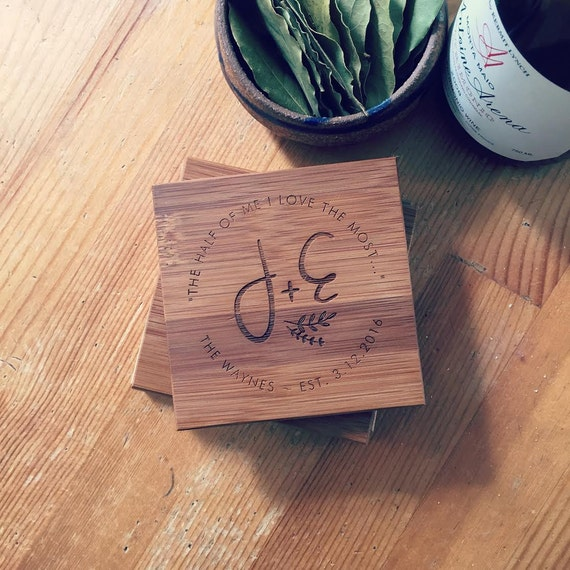 Personalized Bamboo Coaster Set w/ Engraved Initials, Customized Coasters, Wedding Gift or Anniversary Gift w/ Names, Established Date