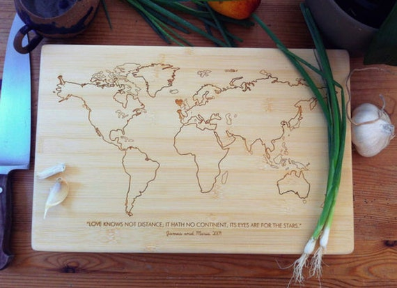 World Map Personalized Cutting Board / Bamboo Chopping Block, Custom Engraved, Unique Wedding Gift, Engagement Gift, Gift for Couple