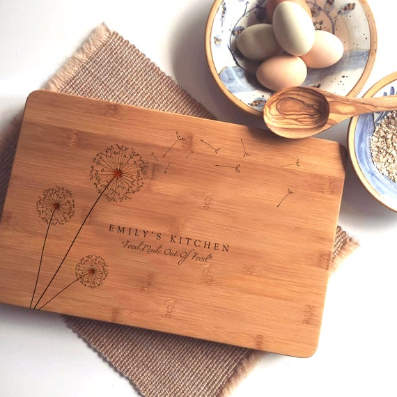 Personalized Cutting Board, Custom Chopping Board, Engraved Dandelions w/ Your Names or Text, Unique Wedding Gift or Housewarming Gift