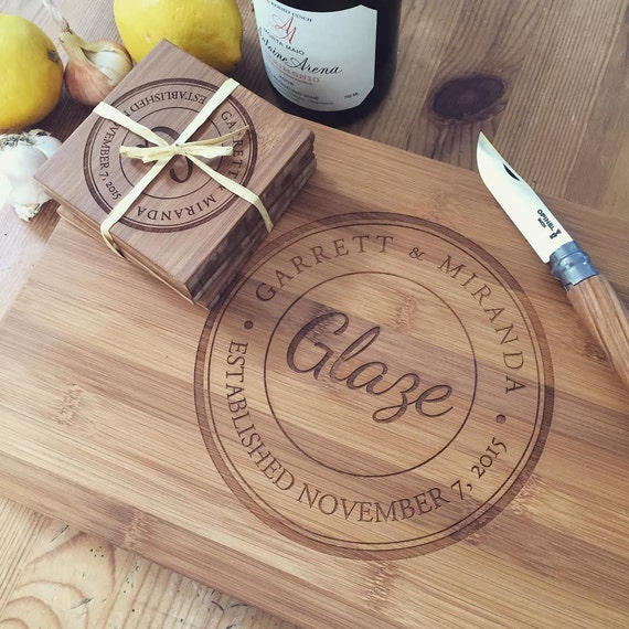 Personalized Cutting Board Set: Wood Chopping Block and Coaster Set, Custom Butcher Block, Unique Wedding Gift, Anniversary Gift