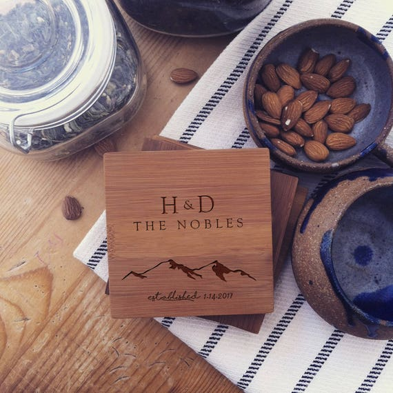 Personalized Coaster Set, Custom Coasters, Wood Coasters with Mountains for Wedding Present, Engagement Gift, or Anniversary