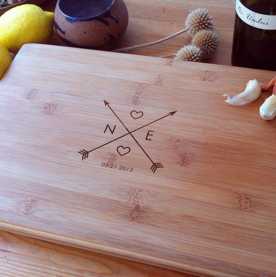 "Personalized Cutting Board, Custom Engraved Chopping Block, ""Crossing Arrows"" Unique Wedding Gift, Engagement Present, Carved Initials"